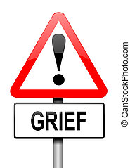 Grief concept. - Illustration depicting a red and white...