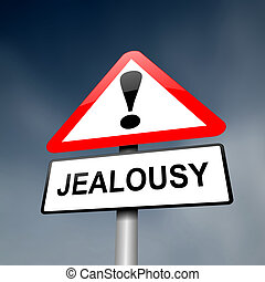 Jealousy concept. - Illustration depicting a red and white...