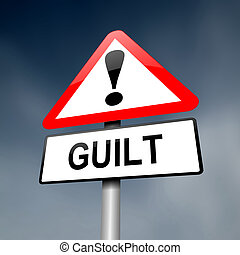 Guilt concept. - Illustration depicting a red and white...