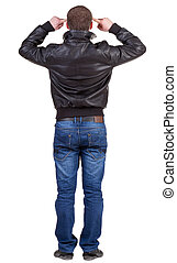 Back view of thinking  man in jacket.