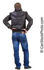 Back view of handsome man in jacket