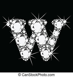 W letter with diamonds bling bling