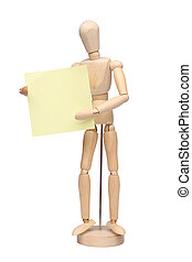 wood mannequin with a paper note over white