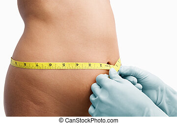 Female mid section being measure before liposuction - Female...
