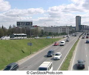 cars moving city vilnius - cars moving on city highway four...
