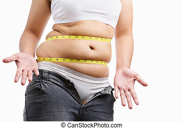 Fat woman give up wearing her tight jeans