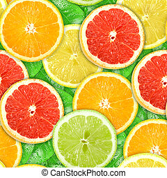 Seamless pattern with motley citrus-fruit slices - Abstract...