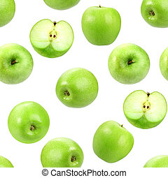 Seamless pattern with green fresh apples.