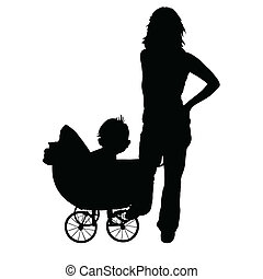 mother and baby in the pram art vector silhouette black