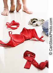 Couple having intercourse with red underwear on floor, I use...