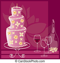 cake with flowers - is an illustration in EPS file