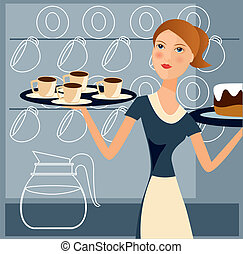 working waitress 2 - is an illustration in EPS file.
