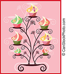 cupcakes with flowers - is an illustration in EPS file.