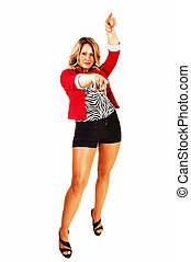 Woman pointing finger. - A tall young woman in black shorts...