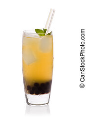 Lychee Boba Tea - A glass of Lychee tea with tapioca pearls,...