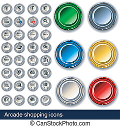 Arcade shopping buttons - Collection of shopping icons along...