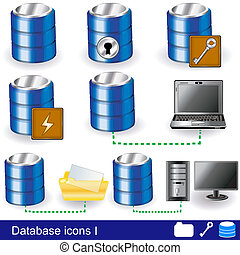 Database icons 1 - Collection of different database icon...