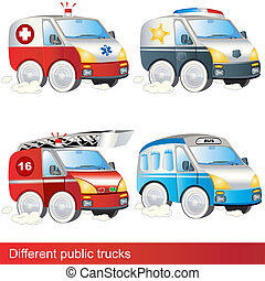 Different public trucks - Four different public trucks:...