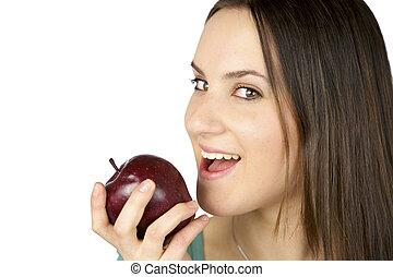Girl ready to eat apple happy