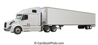 Truck, isolated - Big white truck with blank space for...