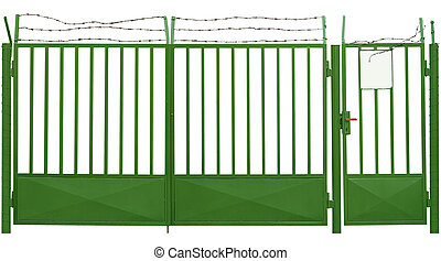 Old gate with barbed wire