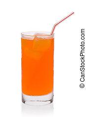 Orange Soda - Glass of orange soda with ice and a straw...