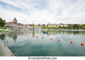 Ouchy port and Chateau, Lausanne, Switzerland