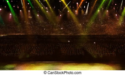 concert camera yellow flash light - color spotlight in the...