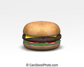 3D Fast food burger