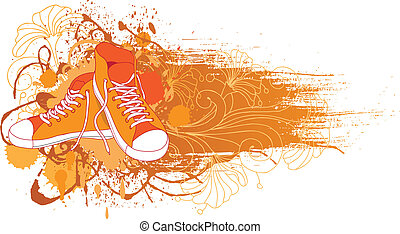 Abstract background with sneakers and flowers