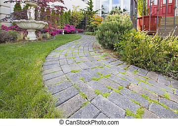 Frontyard Cement Stone Paver Path on Green Lawn with Water...