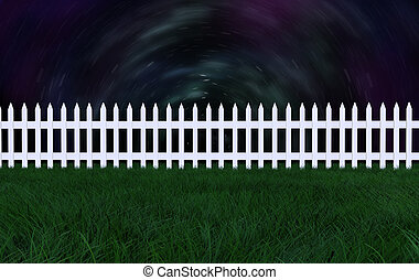3d picket fence against a star sky - 3d picket fence on a...