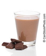 Glass of chocolate milk with broken chocolate bars