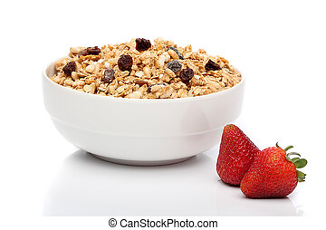 granola, desayuno, tazón, encima, blanco, Plano de...