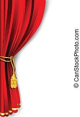 Curtain Drape - illustration of red stage curtain drape tied...