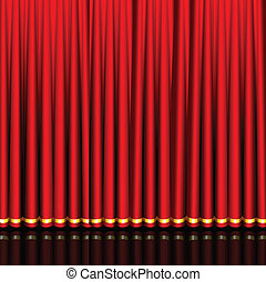 Stage Curtain - illustration of glossy silk red curtain in...