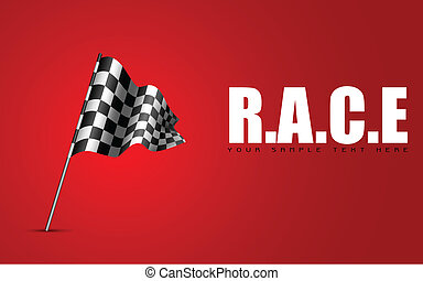Racing Flag - illustration of racing flag waving on abstract...