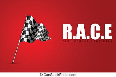 Racing Flag - illustration of racing flag waving on abstract...
