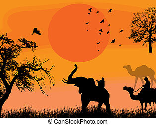 African safari theme vector illustration with camels and...