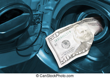 money-in-the-gas-tank - High cost of gas is represented by a...