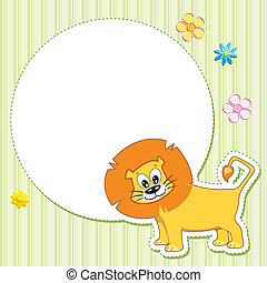 Lion on Baby Card - illustration of lion on baby card with...