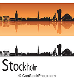 Stockholm skyline in orange background in editable vector...