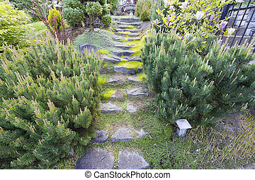 Garden Natural Granite Stone Steps Leading to Yard with...