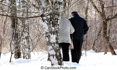 grandmother and grandfather go through forest in winter