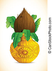 Mangal Kalash with Coconut - illustration of coconut in...