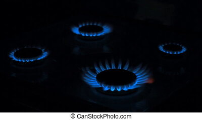Gas stove in the dark