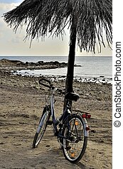 The bicycle - Walking on the beach on a bicycle