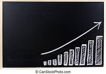 Bar chart on blackboard. Sales growth
