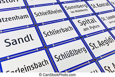 austria, upper austria, road signs - several signposts of...