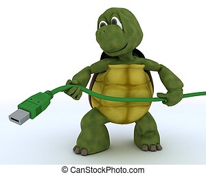 Tortoise with a firewire cable - 3D render of a tortoise...